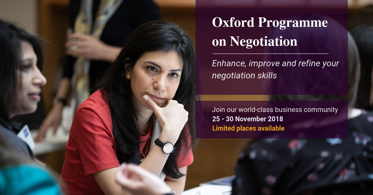 We've got a great group coming together for the Oxford Programme on Negotiation at the end of November, when they will examine their own #negotiation style, reflect on past negotiations and experiment with new approaches.  Join them: https://t.co/eByatu75y2
