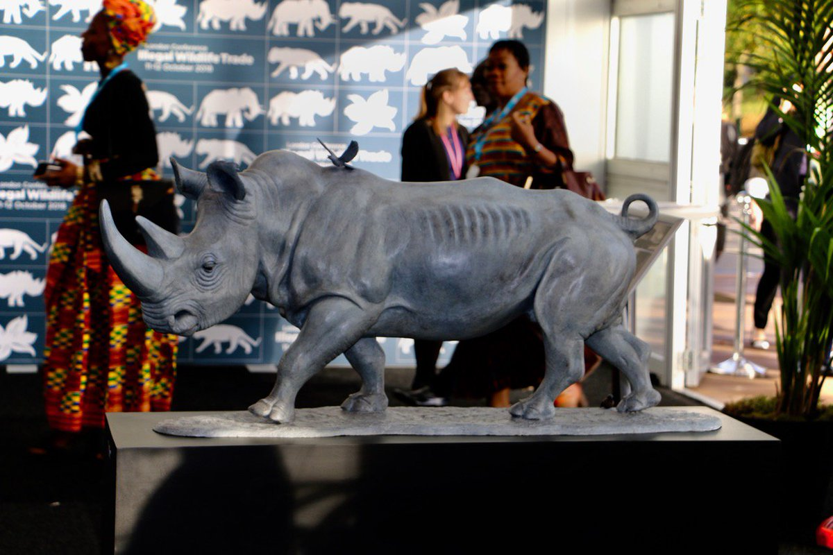 Illegal Wildlife Trade conference- story boards on sculptures. @BorisJohnson @michaelgove @IainSTE @4Apes @ArchietheEle @OlPejeta @2mTusks @TEQmovie @savetherhino @ste_kenya @DSWFWildlife @RountreeTryon @united4wildlife #endwildlifecrime
