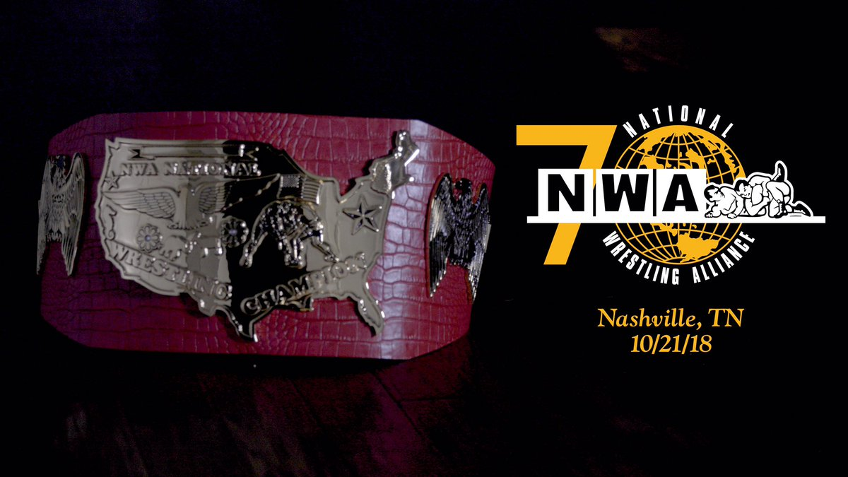 The new @NWA National Championship Title. Winner crowned at #NWA70. youtu.be/sz5nQgGVAc0 Nashville | Sunday 10/21/18 nwa70.simpletix.com Watch live on @FiteTV - fite.tv/watch/nwa-70th…