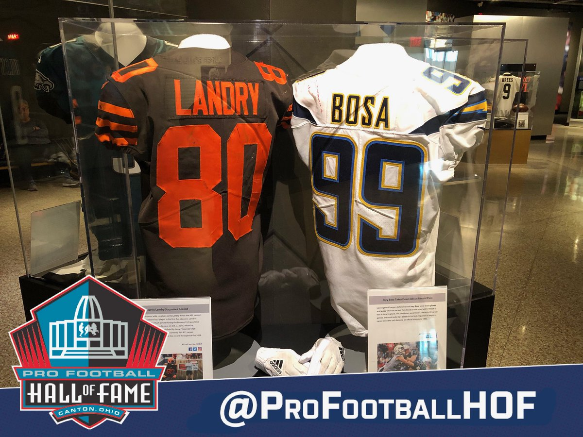 Now on display at the Hall: the game-worn jersey by @Browns WR @God_Son80 from Week 5. Landry recorded his 427th career reception to surpass @LarryFitzgerald for the most receptions by a player in their first 5 seasons in @NFL history (Fitzgerald held record w/ 426 receptions).