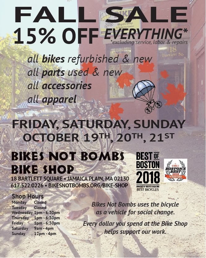 Bikesnotbombs On Twitter Fall Sale At Our Bike Shop At 18 Bartlett