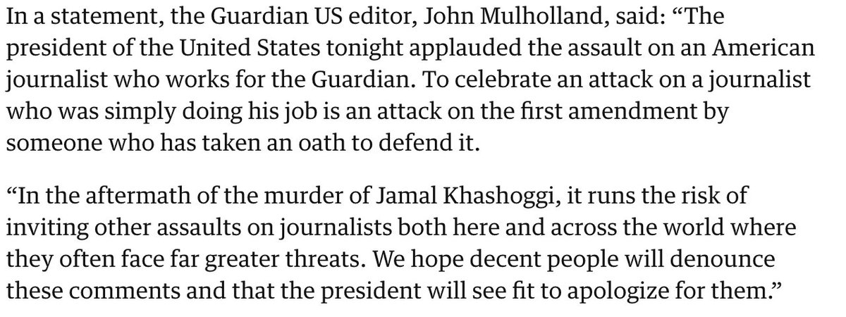 This line of attack -- that Trump's despicable rhetoric is somehow responsible for an uptick in journalists being attacked by despots -- is silly. Despots, including both MBS and Erdogan, don't need an excuse to attack journalists, and haven't required one.