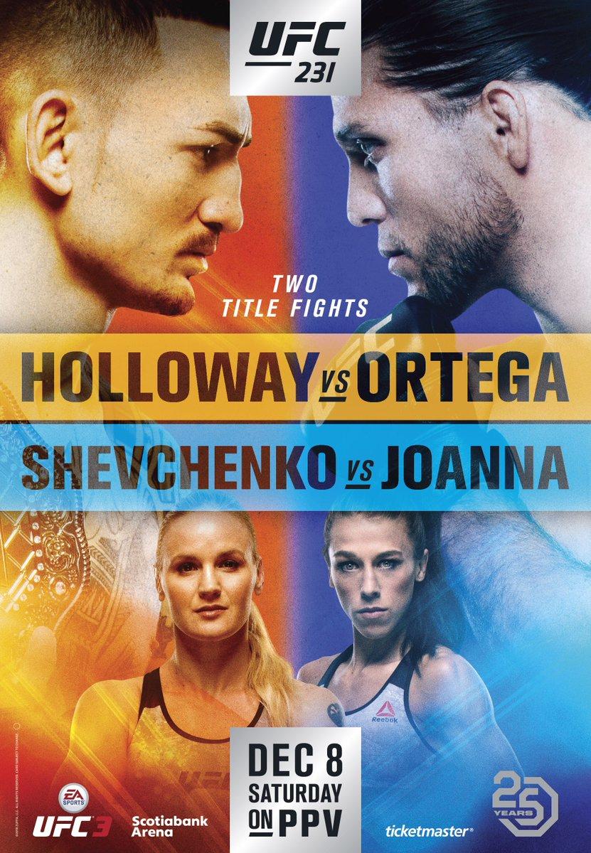 Official poster alert! 😎  @BlessedMMA x @BrianTcity @BulletValentina x @joannamma  Toronto awaits 🇨🇦 #UFC231