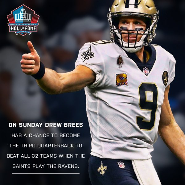 With a win on Sunday, @Saints QB @drewbrees would become the 3rd QB in @NFL History to defeat all 32 franchises. Peyton Manning & HOFer  are@Favre4Official the only other quarterbacks to achieve this.