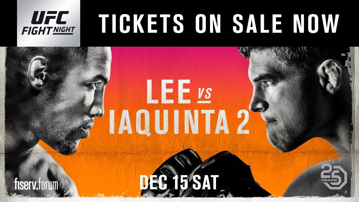 The rematch is SET! #UFCMilwaukee: @MoTownPhenom vs @AlIaquinta 2 Tickets on-sale NOW ➡️ bit.ly/2CTqm2r