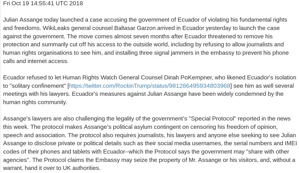 Statement: WikiLeaks publisher @julianassange launches case against his continued gagging, duress https://t.co/uVQbYRlth1