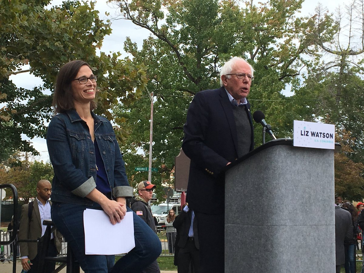 This is a great nation, and we are proud of this nation. And thats why were going to elect @LizForIndiana to Congress in November! #VoteWithBernie