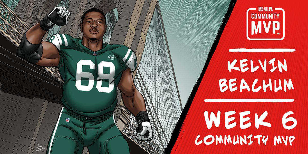 Congrats to our Week 6 #CommunityMVP @nyjets OL @KelvinBeachumJr for raising more than $70,000 for 5 food banks in honor of #WorldFoodDay. More than 337,000 meals will be served to those in need as a result. nflpa.com/community-mvp