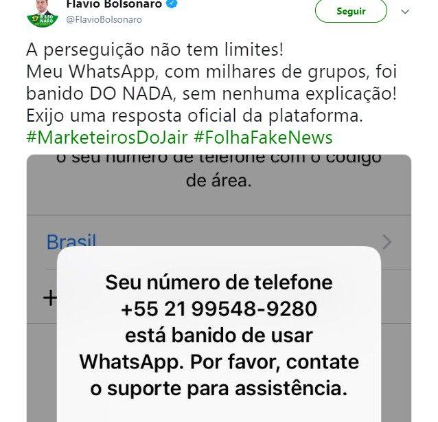 Conta do subCoiso, @FlavioBolsonaro , é banida do whatapp pelo aplicativo. Indício claro de que a família do mal está diretamente envolvida no envio ilegal de mensagens por celular. Centenas de outras contas estão sendo investigadas. A eleição está fraudada! #CassaçãoDoBolsonaro