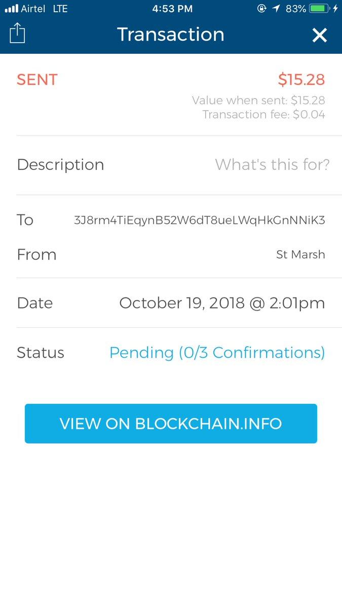 blockchain transaction pending