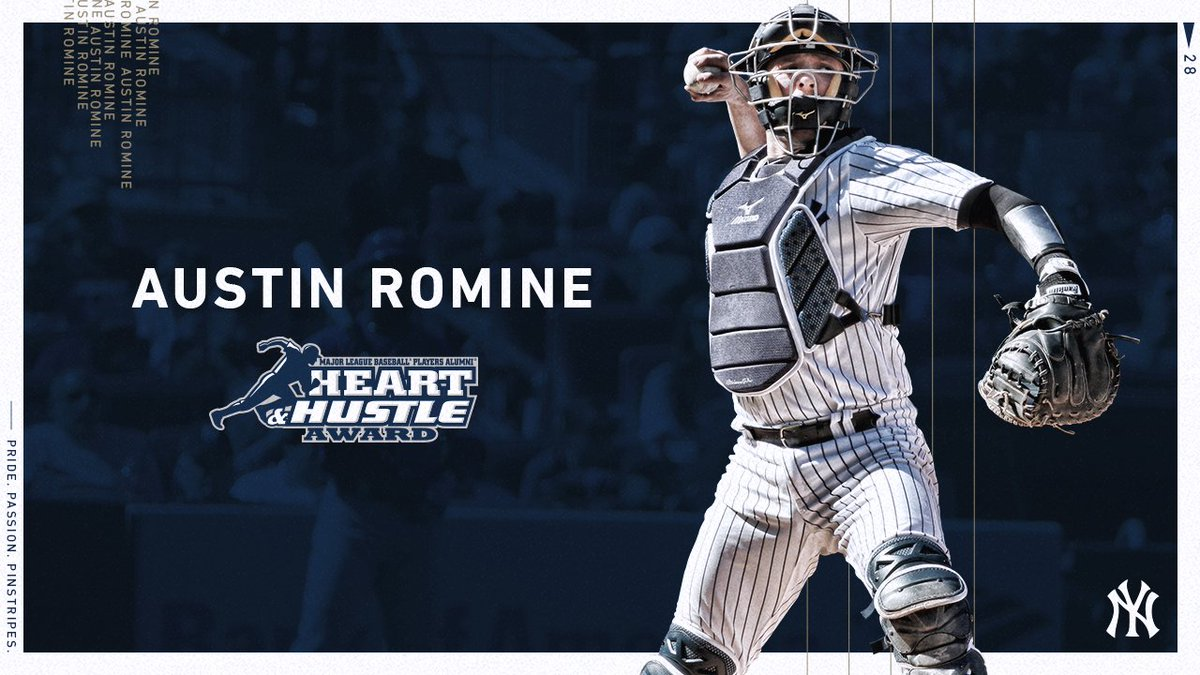 Austin Romine is our 2018 @MLBPAA #HeartandHustle award nominee. No one better embodies the spirit and traditions of the game than Ro. The last day to vote is this MONDAY, Oct 22 - atmlb.com/2P7e7VH