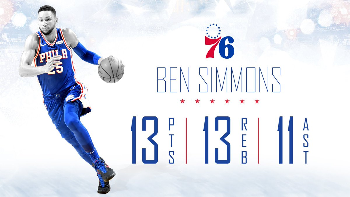 First trip-dub of the season. @BenSimmons25 | #HereTheyCome