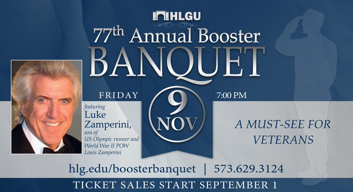 "Our annual Booster Banquet is less than 3 weeks away! Buy your ticket today online at https://t.co/ftpQoknkZN or call us at 573-629-3124. Luke Zamperini, son of Louis Zamperini - Olympic hero, WWII POW, subject of ""Unbroken"" book and movies - is our speaker. Don't miss it!"