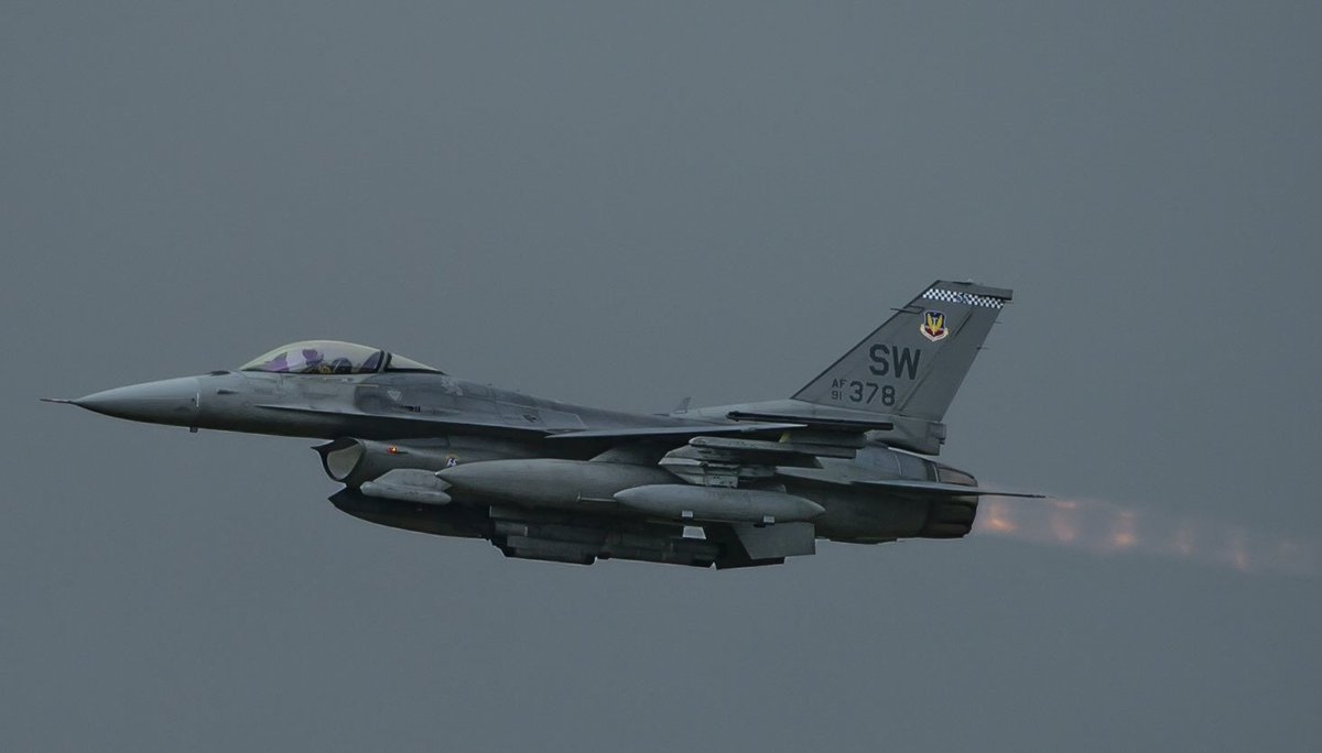A U.S. Air Force F-16CM Fighting Falcon assigned to the 55th Fighter Squadron takes off from the flightline at Shaw Air Force Base, S.C., Oct. 10, 2018 to an undisclosed location in Southwest Asia in support of @CJTFOIR @USAFCENT