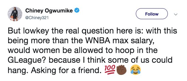 WNBA players not happy about new G League contracts. https://t.co/VqsDmtoS81 https://t.co/qkFNRUVVIb