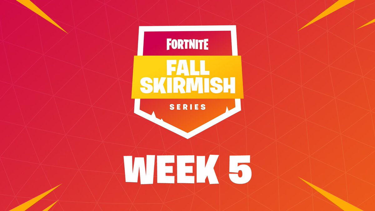 Drop on into twitch.tv/fortnite as Group 1 heats things up in #FallSkirmish Week 5! Keep up with the standings at fortnite.com/fall-skirmish