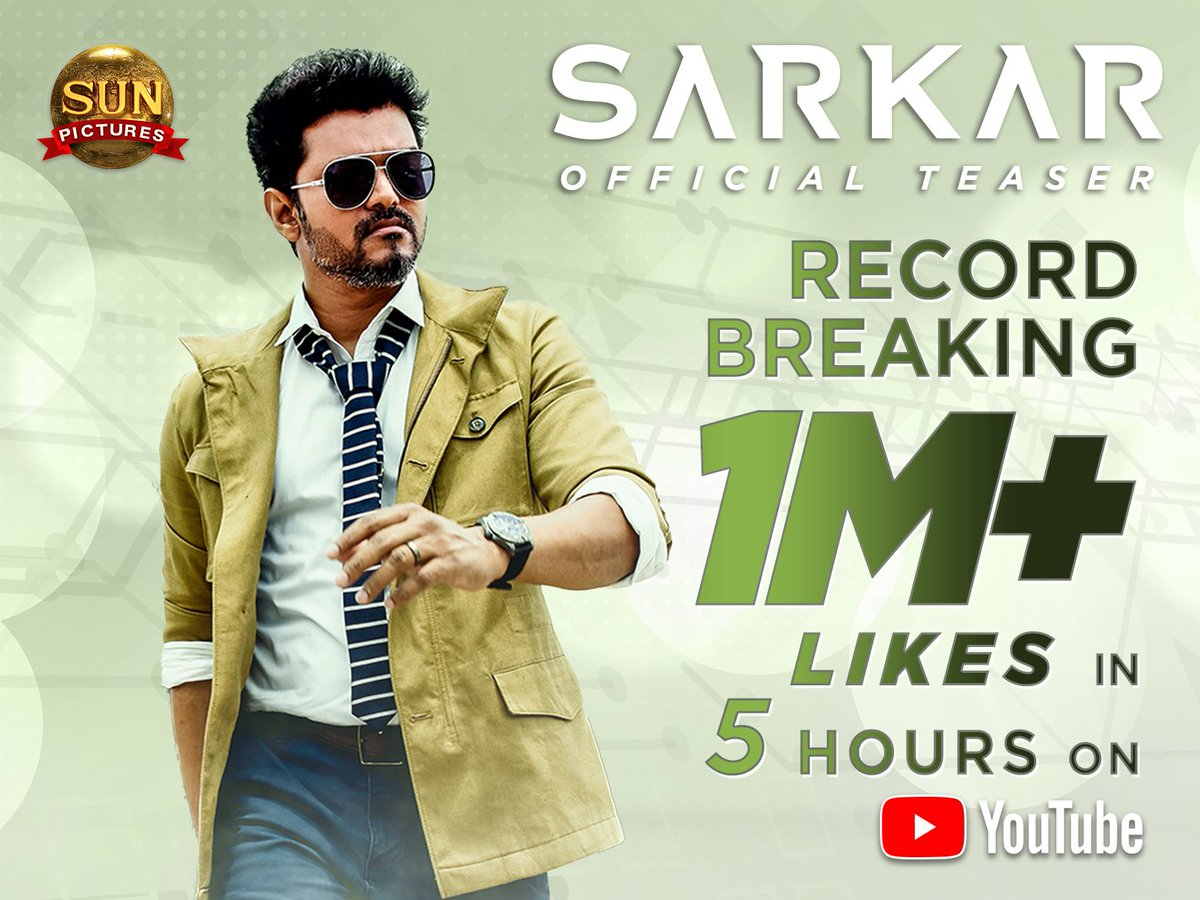 Record breaking 1M+ Likes on YouTube for #SarkarTeaser within 5hrs!