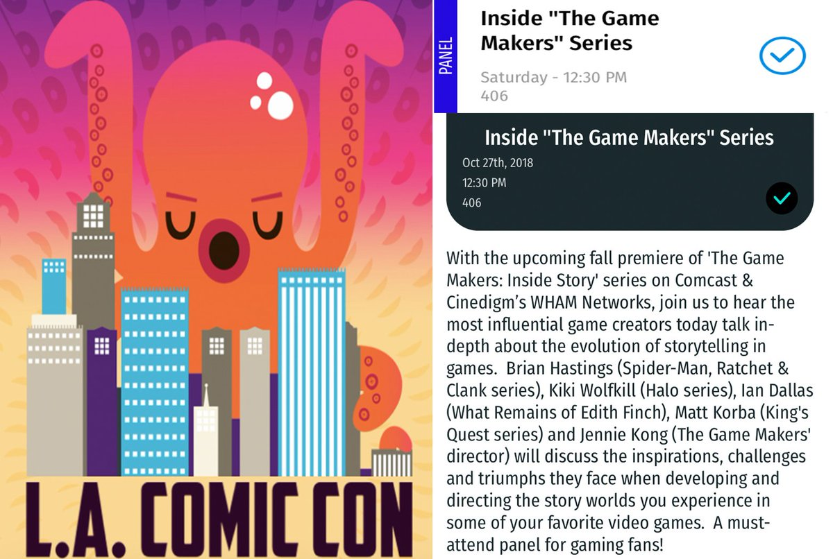 TheGameMakers explore 'Storytelling in Games @comicconla! JOIN US on SATURDAY OCT 27th 12.30pm RM406 as we chat narrative, direction & design w/ Kiki Wolfkill @Halo, Ian Dallas @giantsparrow, Matt Korba @theoddgentlemen & Brian Hastings @insomniacgames! Must-attend for gamers.
