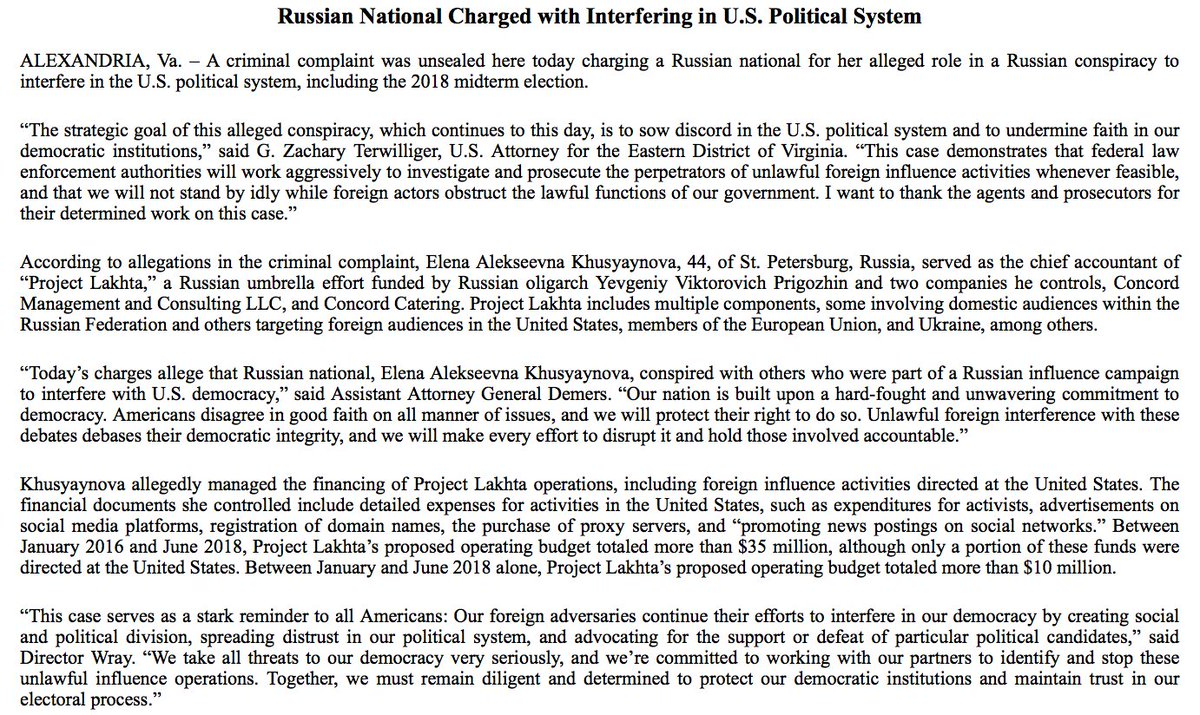 NEW: DOJ charges Russian national with 'alleged role in a Russian conspiracy to interfere in the U.S. political system, including the 2018 midterm election.' https://t.co/Jukl0DtOpU