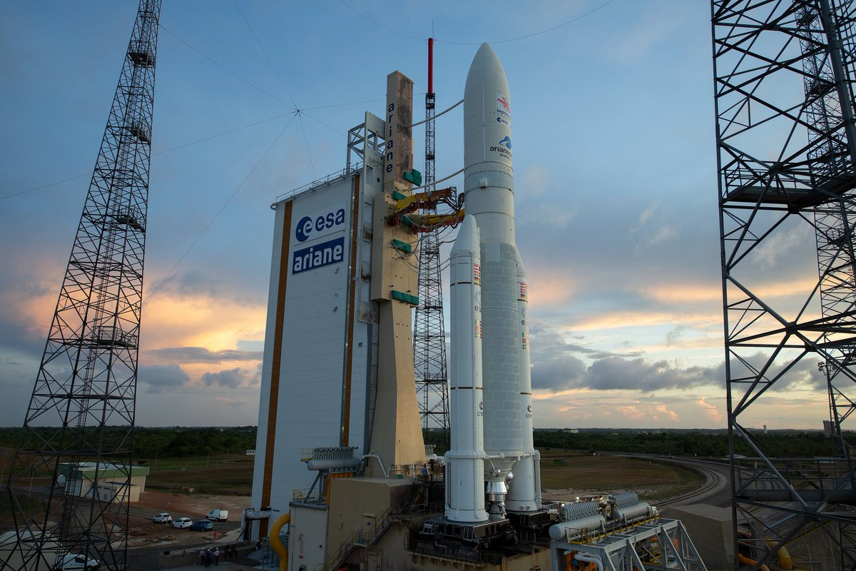 Latest from Kourou: Altitude winds still within launch criteria. Countdown to #BepiColombo launch proceeds as planned. Join us for live coverage from 01:15 GMT (03:15 CEST) https://t.co/JVwQjT07a5