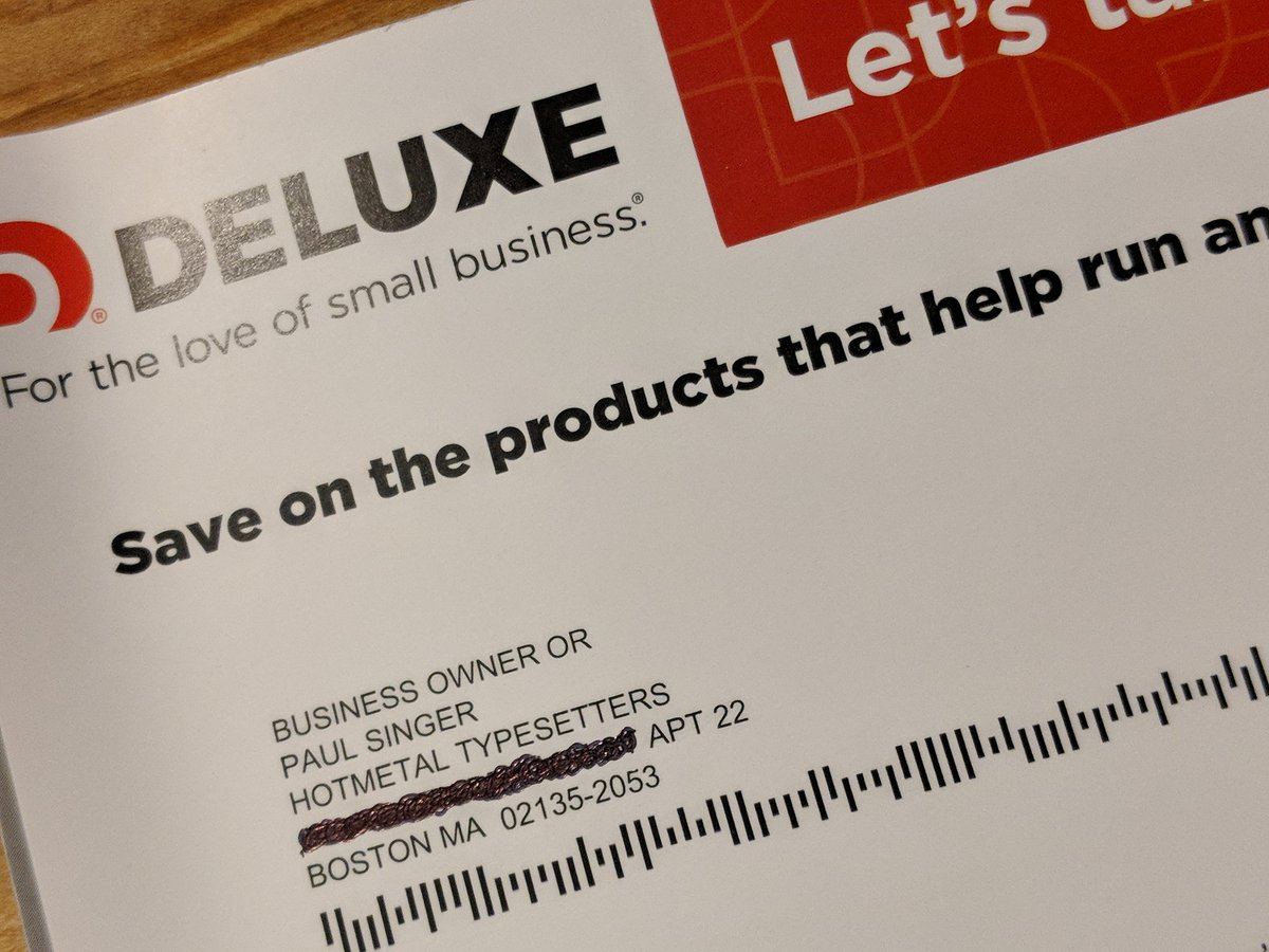 This is freaky. At some point somewhere (Facebook maybe?) I joked that I was going to name my next band 'Hotmetal Typesetters.' How the hell did Deluxe find that and send a solicitation mailer to the band at my address???