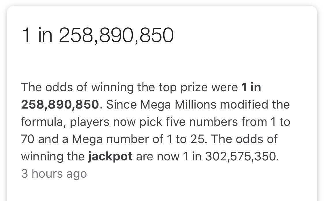 Odds of winning #MegaMillions :