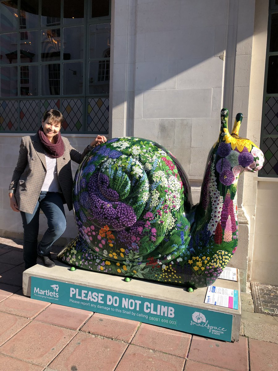 Thank you @martletshospice for the reminder to slow down and #BeMoreSnail. I encountered these rather lovely examples of the snails popping up in the city when I was out and about today. #Brighton.