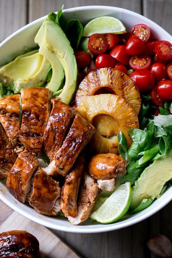 Teriyaki Pineapple Chicken Salad.  Yes, please. #healthyeating #diet #recipe #foodporn #foodie https://t.co/wNnBfIQwxy