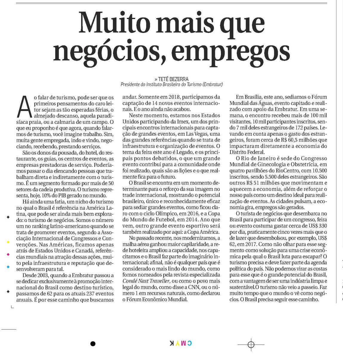 🌍🔎 Artigo do jornal @correio fala sobre o turismo de negócios no Brasil como potencial na geração de empregos #TurismoNews