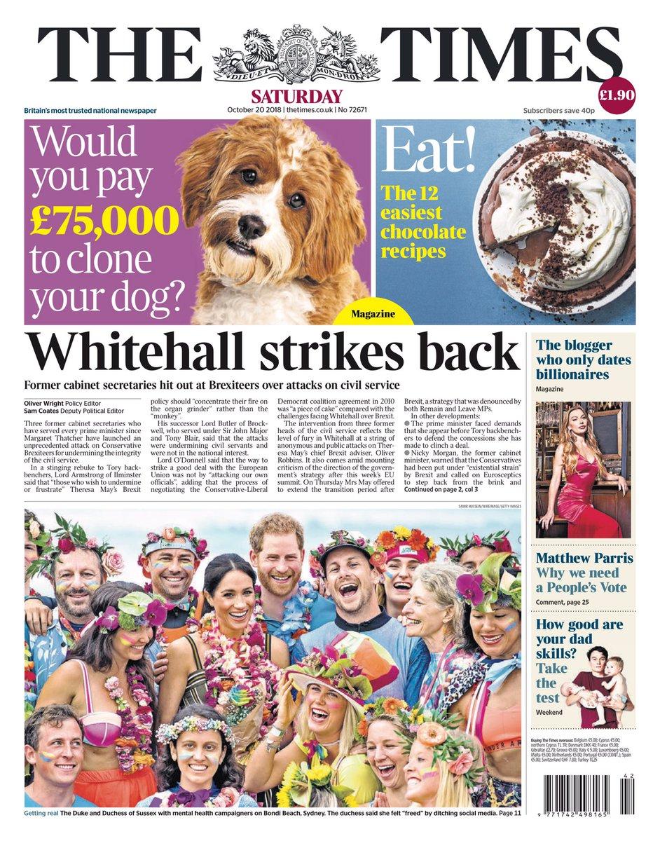 Saturday's Times: 'Whitehall strikes back' #tomorrowspaperstoday #bbcpapers (via @hendopolis) https://t.co/9KEyEQLBXV