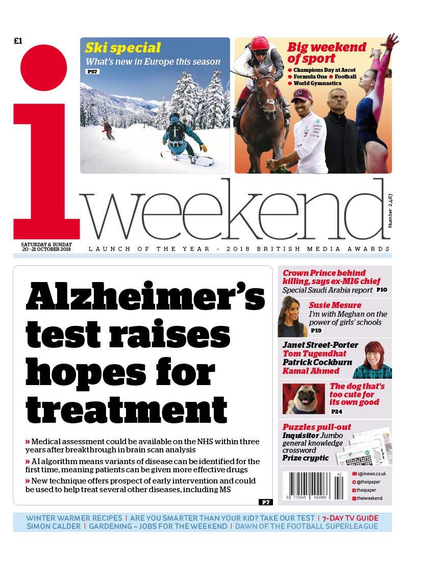 Saturday's i: 'Alzheimer's test raises hopes' #tomorrowspaperstoday #bbcpapers (via @hendopolis) https://t.co/brmrCAc2Xa