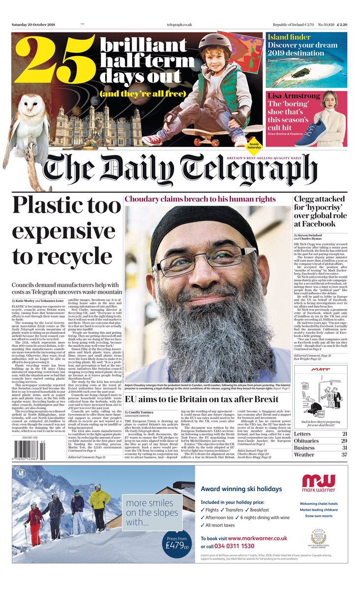 Saturday's Daily Telegraph: 'Plastic too expensive to recycle' #tomorrowspaperstoday #bbcpapers (via @hendopolis) https://t.co/btM7IcVYJT