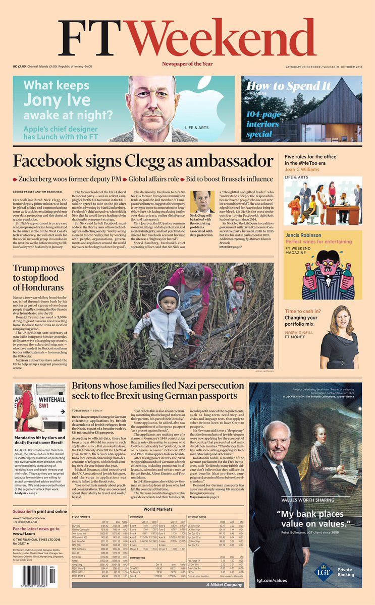 Saturday's Financial Times: 'Facebook signs Clegg as ambassador' #tomorrowspaperstoday #bbcpapers (via @hendopolis) https://t.co/kJpRWoFTdn