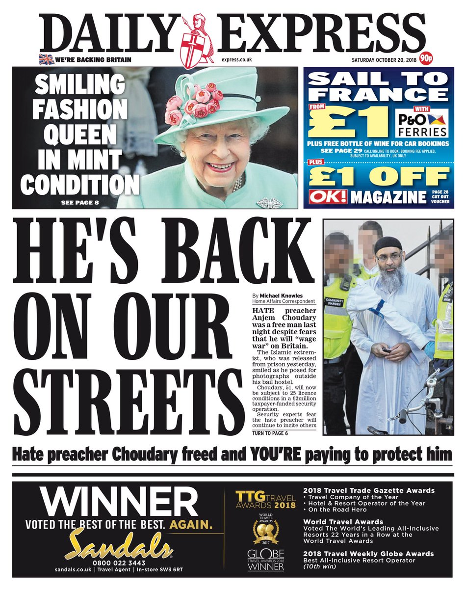 Saturday's Daily Express: 'He's back on our streets' #tomorrowspaperstoday #bbcpapers (via @hendopolis) https://t.co/YT8x7o0YvZ