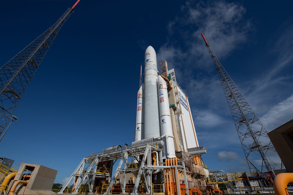 Latest from Kourou: All criteria green. Start filling the #Ariane5's cryogenic tanks.  Join us for the #BepiColumbo launch, live coverage starts at 01:15 GMT (03:15 CEST) https://t.co/JVwQjT07a5