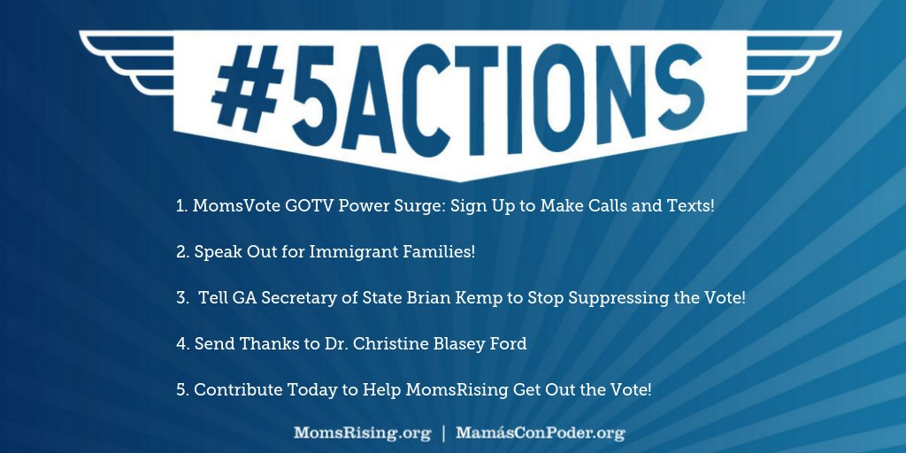 With just over two weeks left until the election, we need all hands on deck to help get out the vote. We have some concrete and powerful things you can do!  TAKE ACTION: https://t.co/HhbAYeGUB8 #5Actions #MomsVote #CantWait2Vote