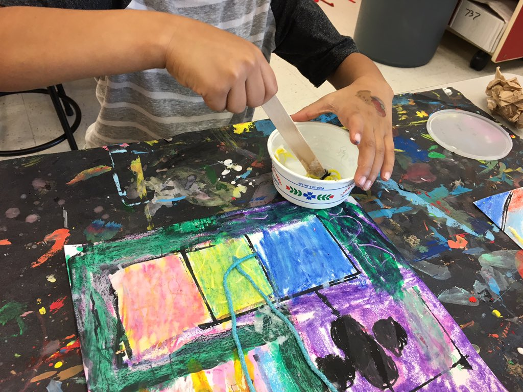 Gr 1 artists add a 3D quality to their stamped, oil pastel designs by incorporating glue-soaked string. <a target='_blank' href='http://search.twitter.com/search?q=line'><a target='_blank' href='https://twitter.com/hashtag/line?src=hash'>#line</a></a> <a target='_blank' href='http://search.twitter.com/search?q=shape'><a target='_blank' href='https://twitter.com/hashtag/shape?src=hash'>#shape</a></a> <a target='_blank' href='http://search.twitter.com/search?q=color'><a target='_blank' href='https://twitter.com/hashtag/color?src=hash'>#color</a></a> <a target='_blank' href='http://twitter.com/APSArts'>@APSArts</a> <a target='_blank' href='http://twitter.com/CampbellAPS'>@CampbellAPS</a> <a target='_blank' href='https://t.co/ue50X8VDRR'>https://t.co/ue50X8VDRR</a>
