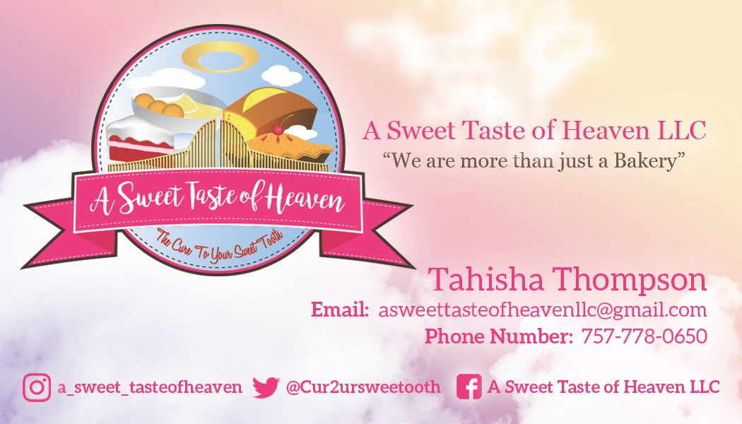 Check Out Our New Business Card Design Revamp by  @ATasteofThought  •  #WeareMoreThanJustABakery #TrendingNow #BakeBoss #ASweetTasteOfHeaven #Homemade #Baker #BakersLife #Catering #HamptonRoads #Business #Chesapeake #Treats #Sweets #FoodGasm  #Foodie #SweetTooth #FoodNetwork<br>http://pic.twitter.com/C7dCDuDrU6