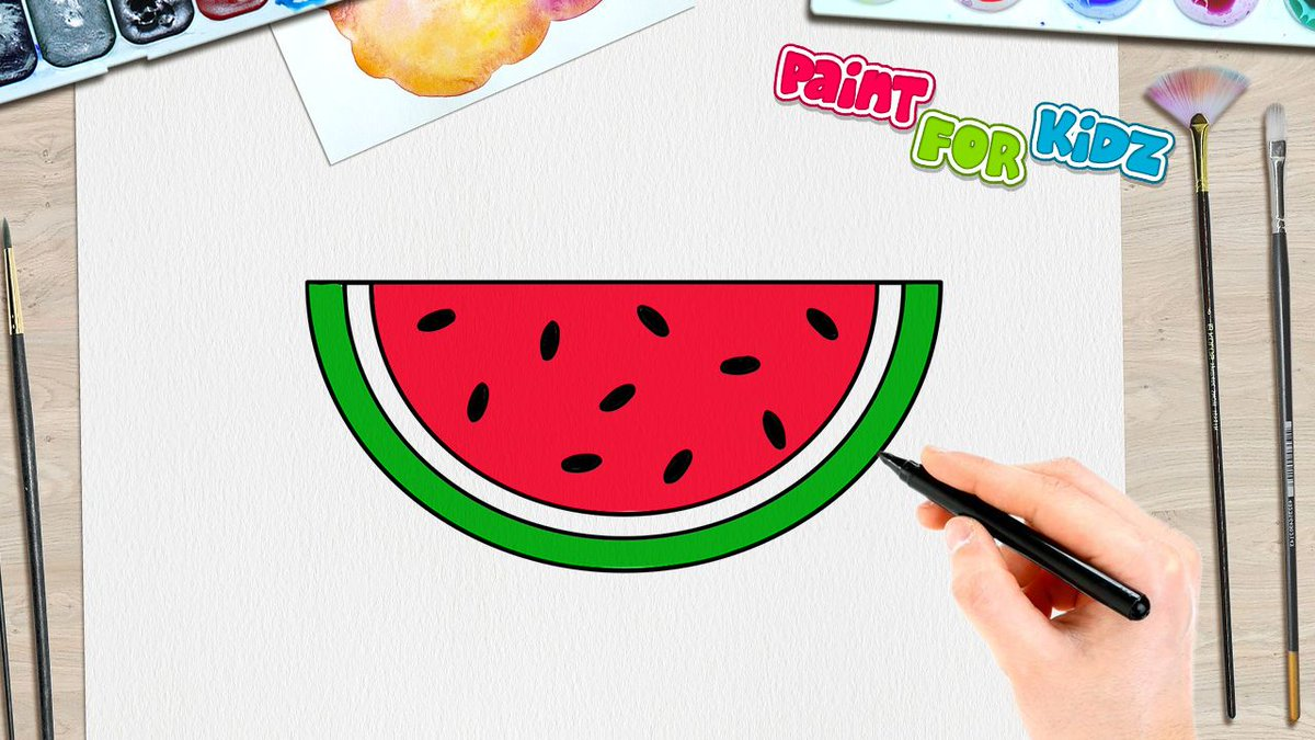 Paint For Kidz On Twitter How To Draw A Watermelon Slice Paint
