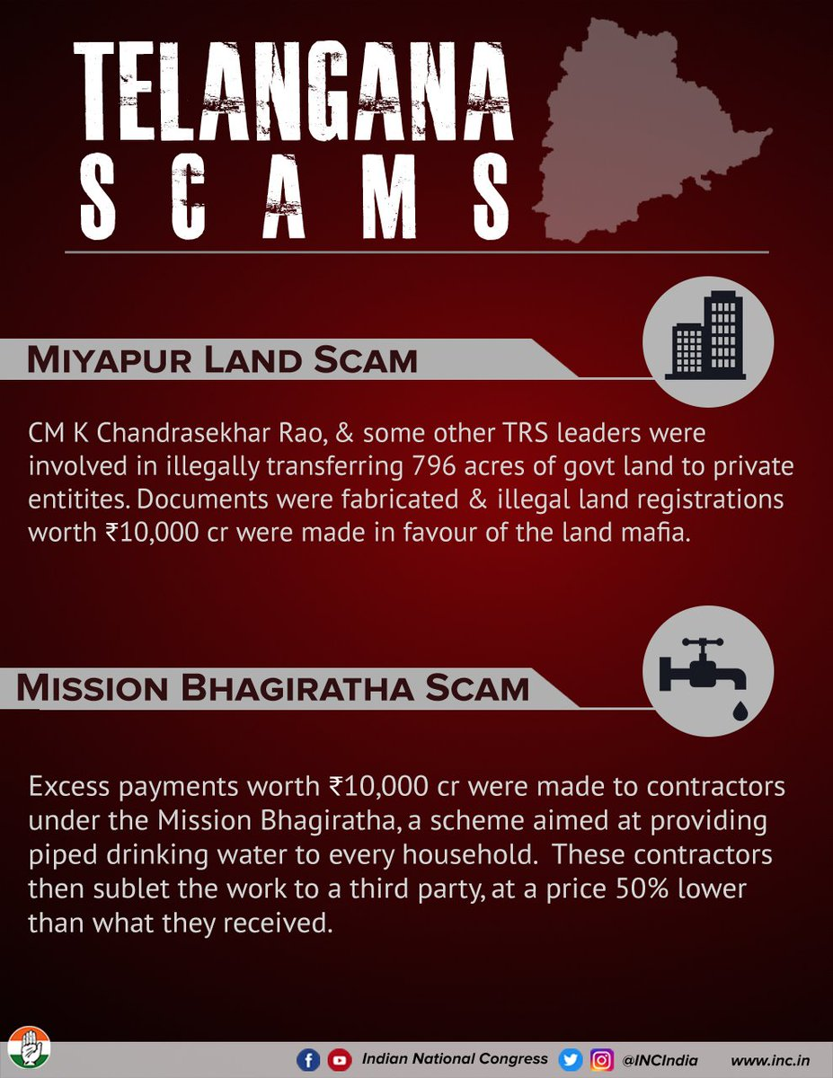 Scam after scam has marred the Telangana govt. and CM K. Chandrashekar Rao has been involved in almost every case.  #TelanganaKuAndagaRahulGandhi