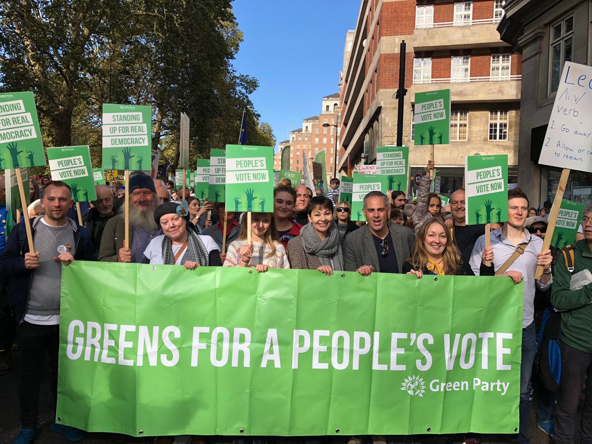 With the lovely @thegreenparty block at #PeoplesMarch!  This is huge 😀
