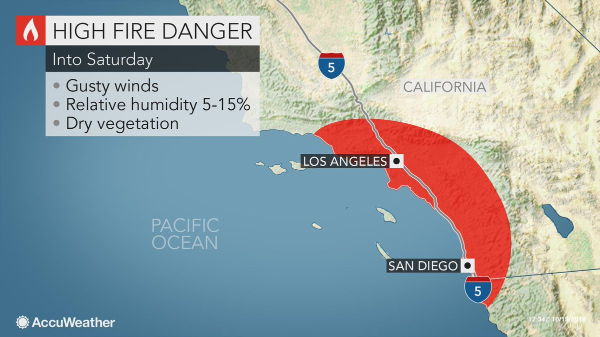 Locally gusty winds will contribute to an elevated risk of wildfire ignition and spread across parts of Southern California through Saturday: https://t.co/aRzvN8Ozxy