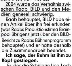 In @BILD rätselt @DanielC_BILDde heute treuherzig, warum das Verhältnis von Stefan #Raab zum Blatt 2004 so schlecht geworden ist. Ich hätte da ein paar Antworten. Aus dem Jahr 2004: https://t.co/0FUHwWYt7v