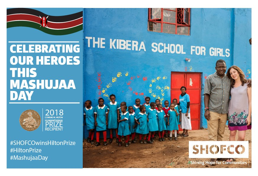 This #MashujaaDay, wed like to celebrate the entire @hope2shine team, from our girls, @hope2shine staff, our supporters & friends, your continuous support is what keeps us going. We are who we are today, because of you. #MashujaaDay2018 #SHOFCOwinsHiltonPrize #HiltonPrize