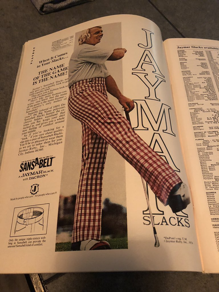 My restaurant's reading library had a 1974 Playboy. Ads include scotch, whiskey, cigarettes, golf, plaid golf slacks, Jaguar cars, rum, cologne, cigarettes, cars, soap-on-a-rope, cigarettes. Repeat!
