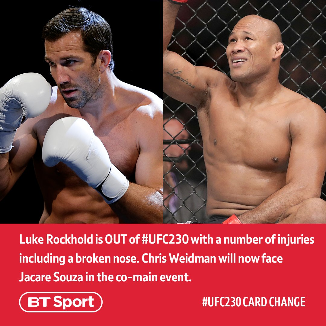 There's been a change to the #UFC230 card:  ⬅️ Luke Rockhold ➡️ Jacare Souza