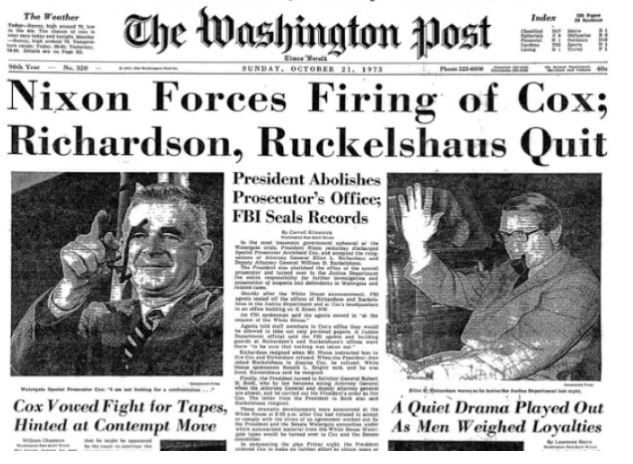 45 years ago today, President Nixon set off the Saturday Night Massacre over the Watergate tapes https://t.co/MPMYHTu1AY