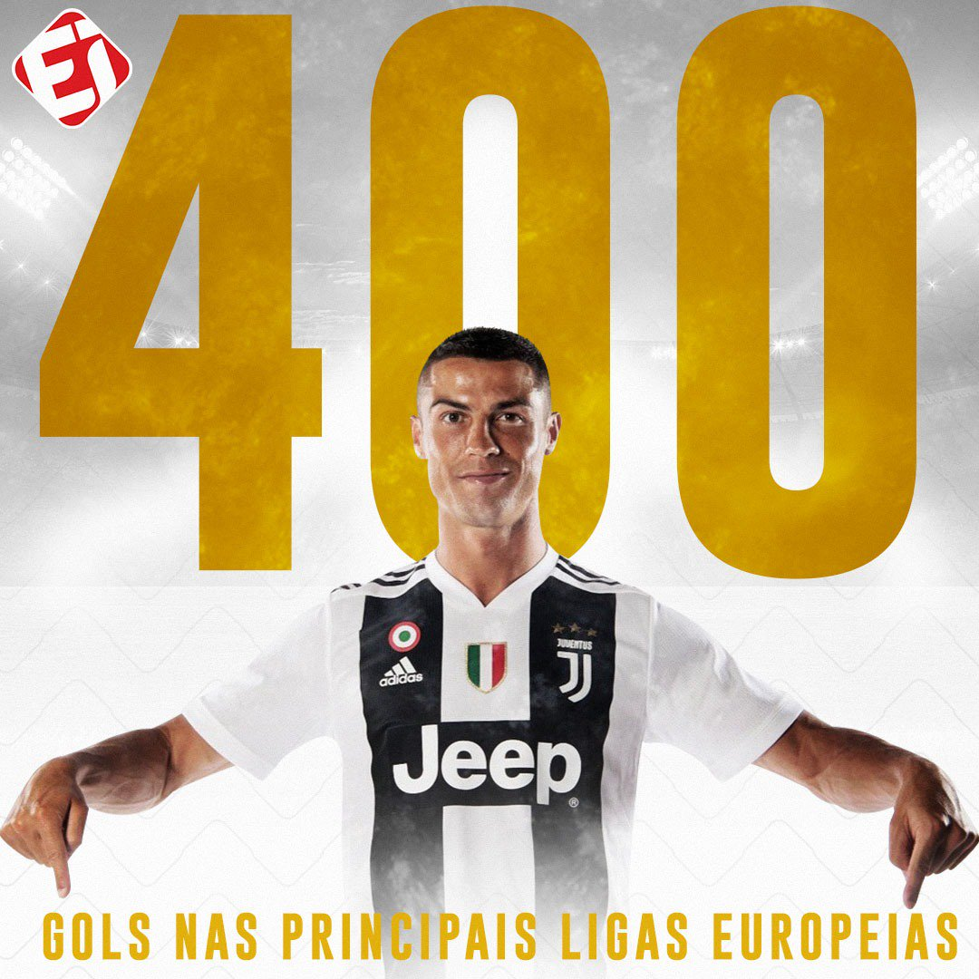 Cristiano Ronaldo é o primeiro jogador das cincos grandes ligas europeias a chegar aos 400 gols (311 na Espanha, 84 Inglaterra e 5 na Itália)!  E contando...  Via: MisterChip