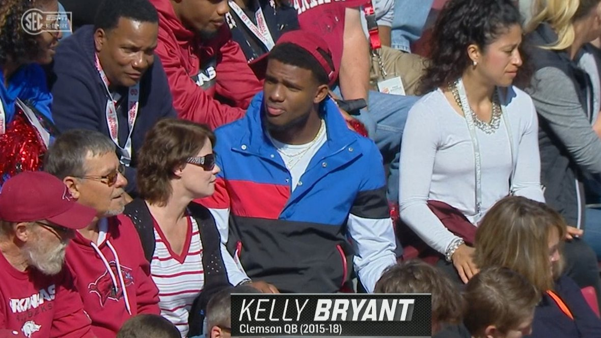 Former Clemson QB Kelly Bryant is at the Arkansas game today 👀