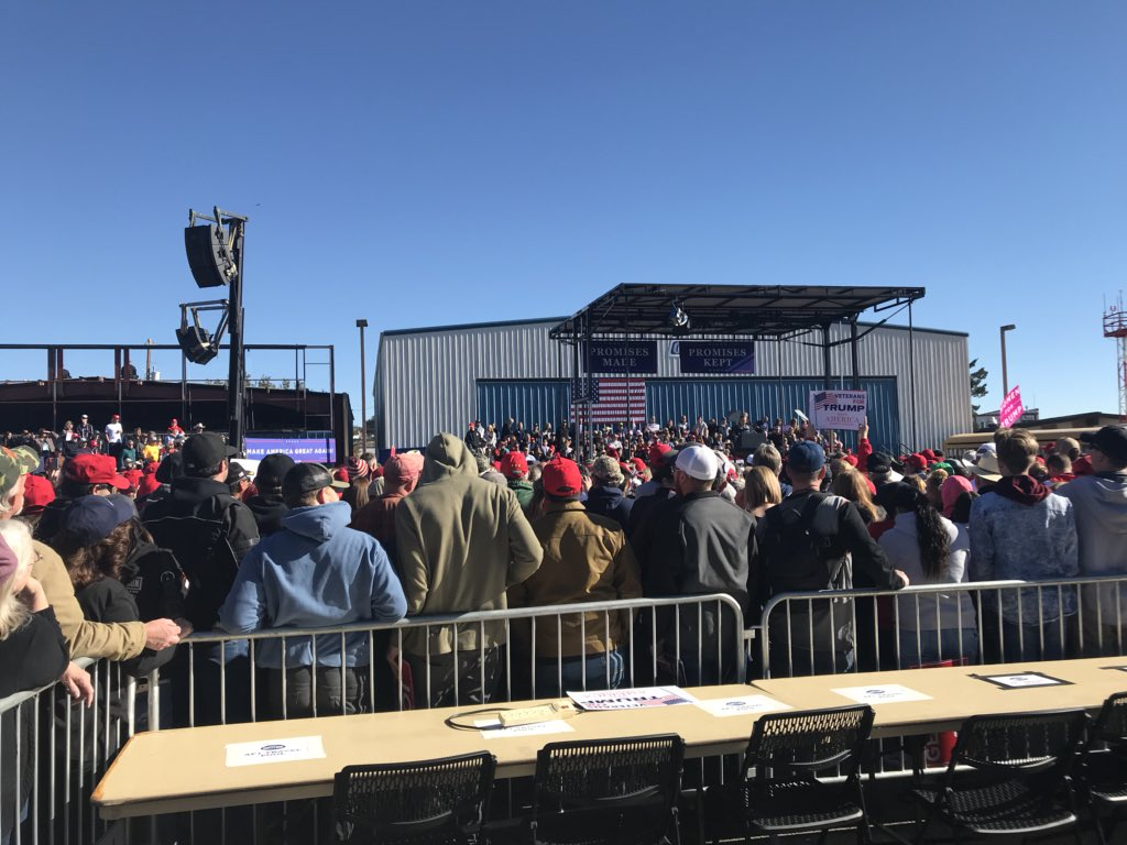 """A """"Jobs not mobs!"""" chant breaks out as GOP gubernatorial candidate Adam Laxalt warms up the crowd. Laxalt responds: """"I think we'll leave that to the president"""""""